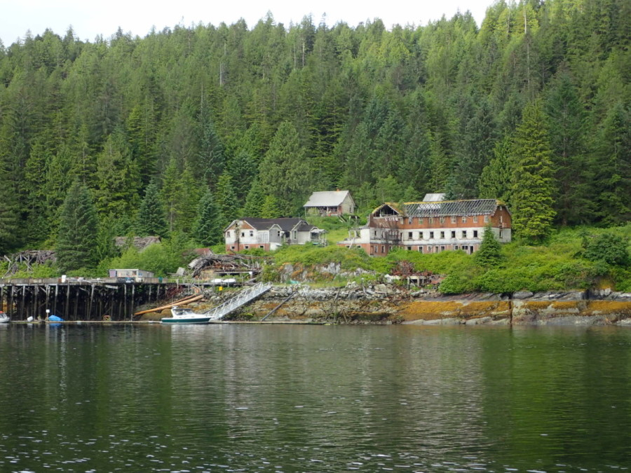 The remains of the long abandoned cannery at Butedale, once B.C.s largest on the coast; the docks are maintained by an on site caretaker, and one can stay there to explore the ruins.