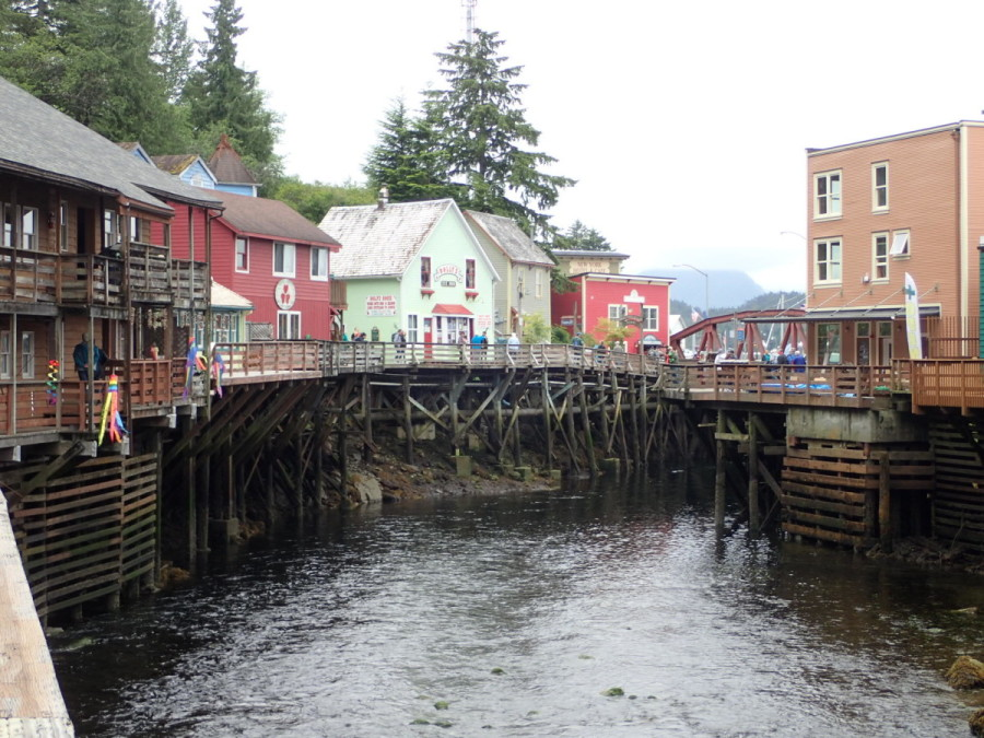 A view of Ketchikan's historic Creek Street, which flourished as the town's red-light district from the early 1900's after the city fathers decreed that such activities were only permitted on the eastern side of the creek.