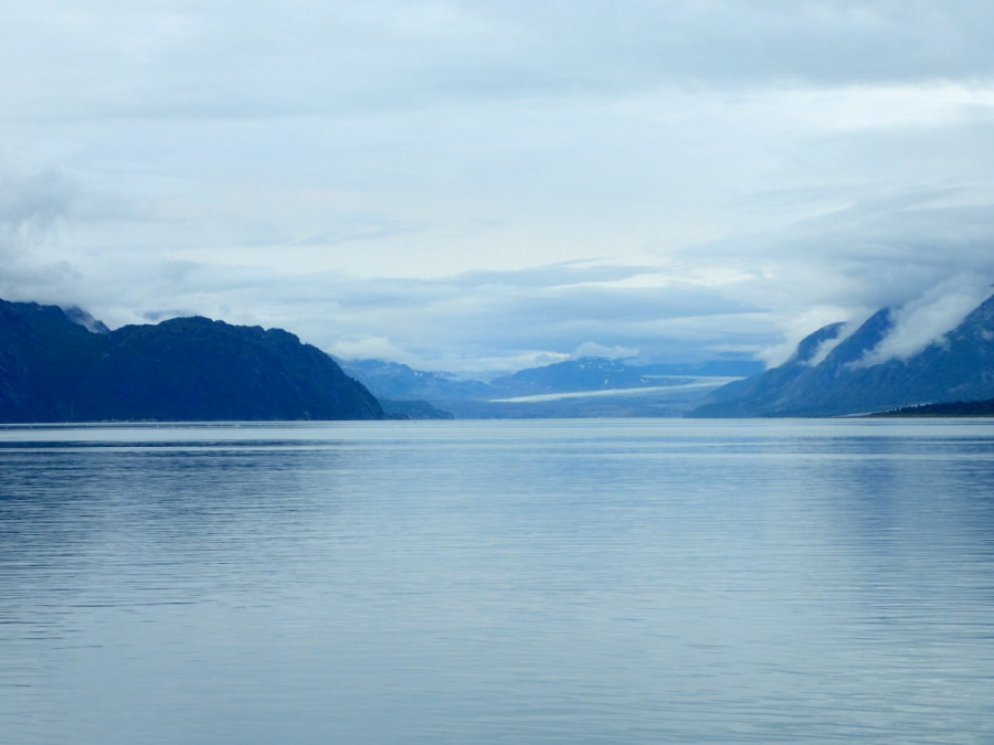 Grand Pacific Glacier from a distance; it is the longest and widest tidal glacier in the park.