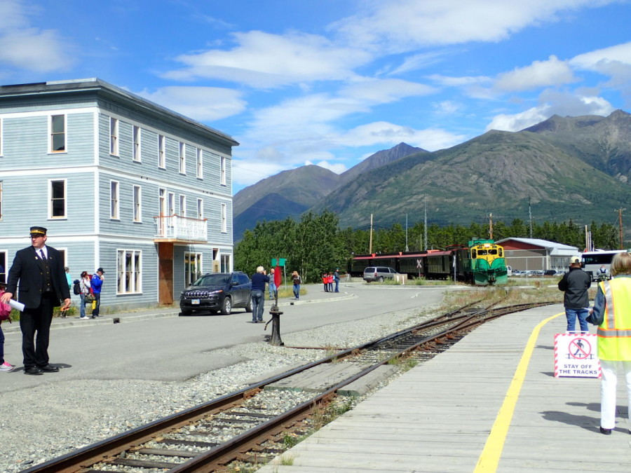 Waiting for the train in Carcross, an interesting place worthy of a return visit.