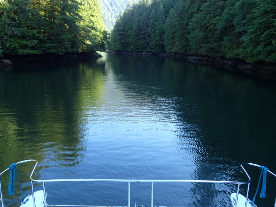 The narrow entrance to Baker Inlet, another excellent and beautiful anbchorage off of Grenville Channel, south of Prince Rupert.