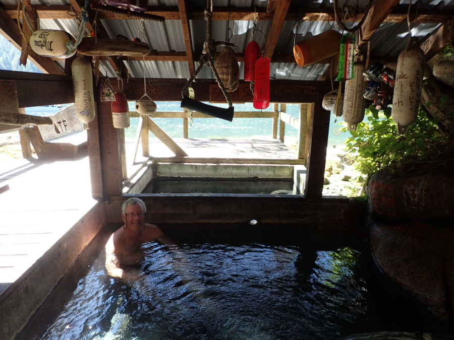 The captain taking a soak in the waterfront pools of Bishop Bay Hot Springs, about 40miles south of Kitimat as the crow flies.